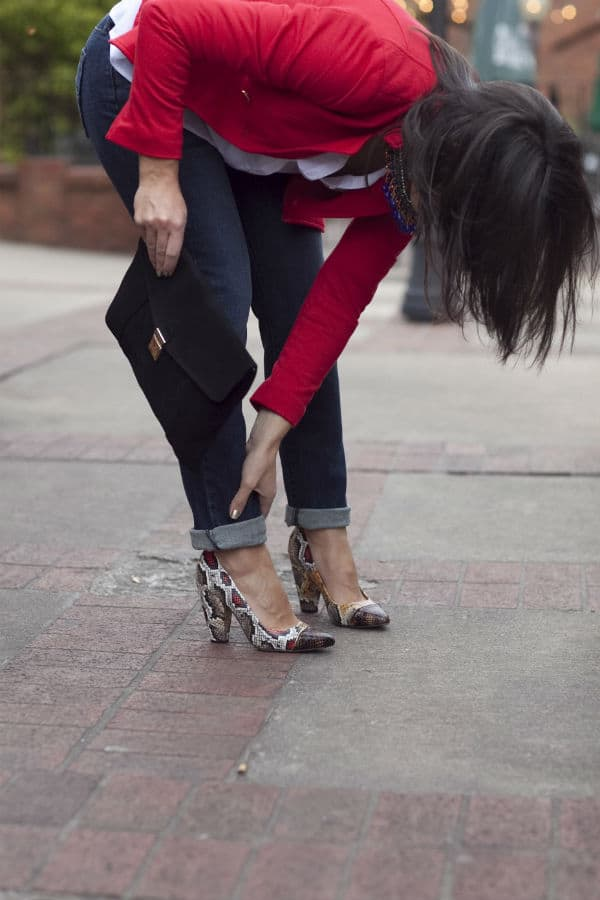 jeans and red blazer