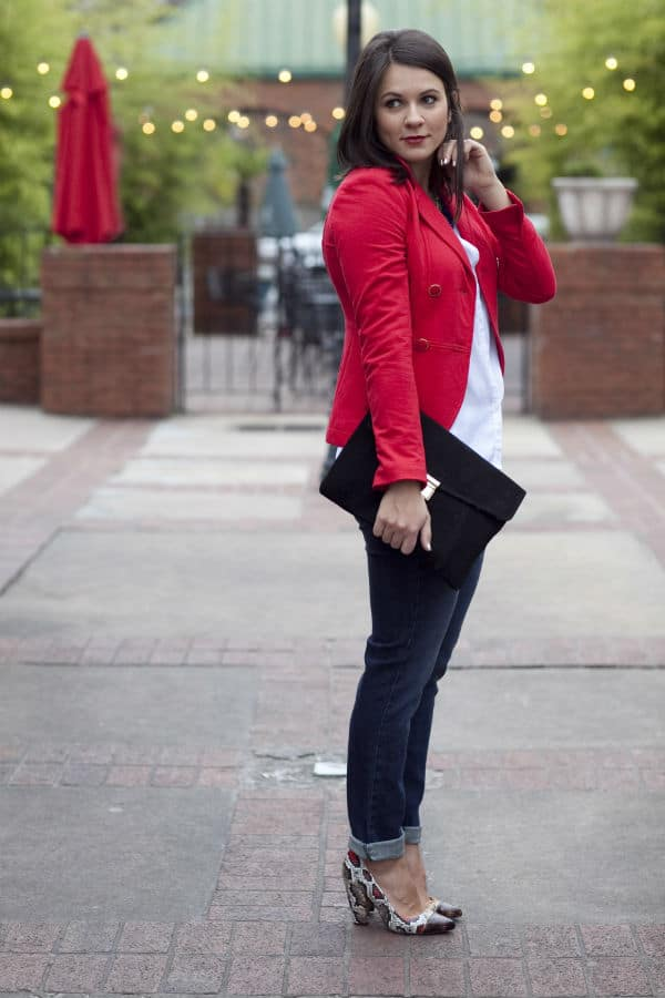 red blazer, jeans and snakeskin heels