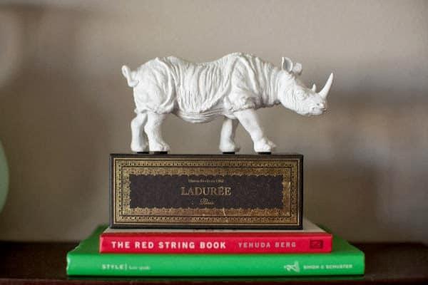 laduree box on bookshelf