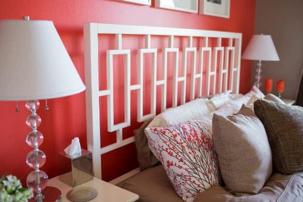 west elm headboard, coral bedroom