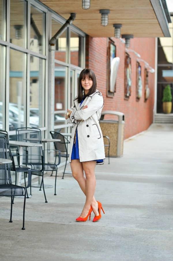 trench coat for spring, orange high heels