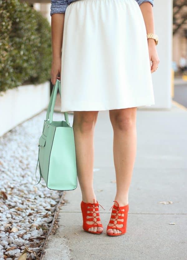 red lace up heels and mint bag