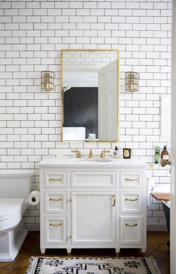 White Subway Tile And Gold Fixtures Part 57