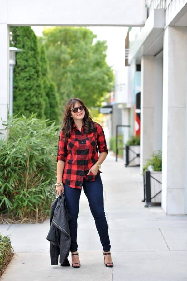 buffalo plaid shirt, fall outfits, leather jacket and buffalo plaid,