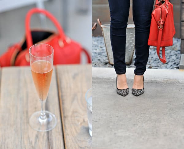 Denim on denim, fall outfits, chambray and jeans, red bag for Fall, leopard heels,