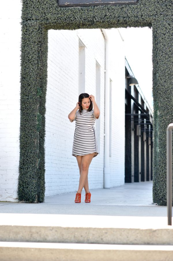 Topshop striped dress, stripes and red booties, red shoes,