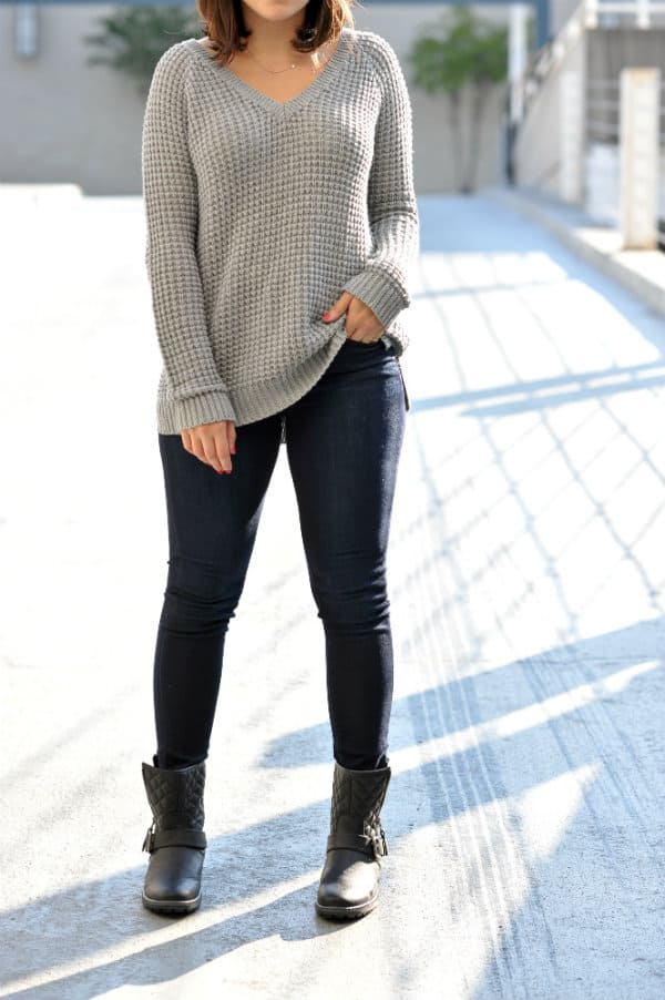 grey american eagle sweater, black fedora, combat boots and chunky sweater,