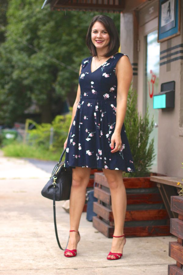 French Connection Floral print Navy dress by @mystylevita