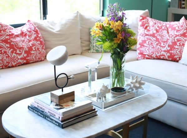 west elm coffee table styling | modern lucite