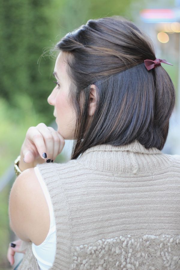 Emijay Leather Hairtie, short bob, long bob, brown hair with natural highlights