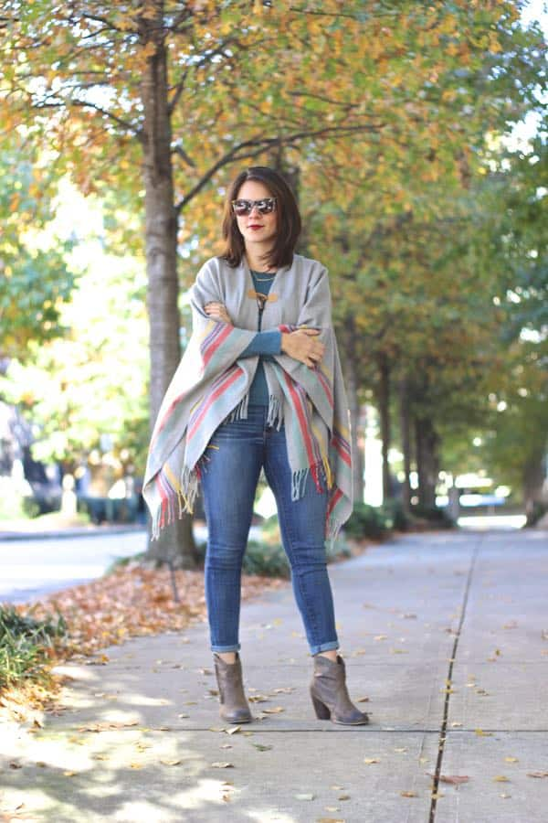 American Eagle Poncho Outfit 1