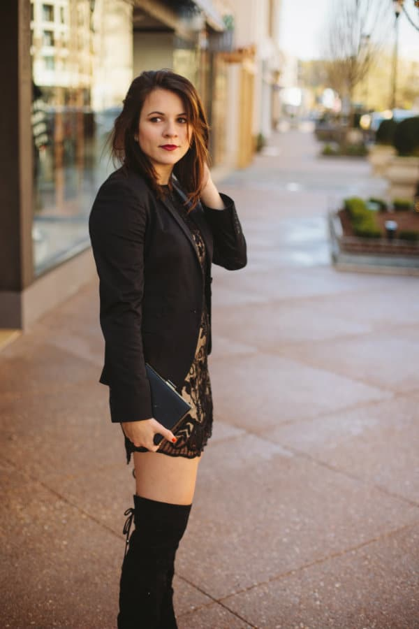 thigh high boots outfit, sequined dress with blazer, holiday outfit ideas - My Style Vita @mystylevita
