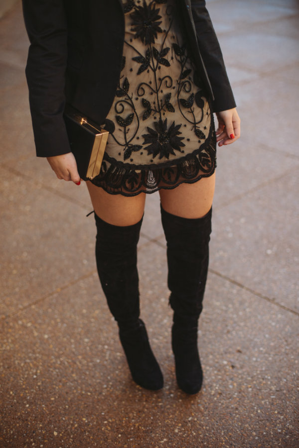 thigh high boots outfits, sequined dress with blazer, holiday outfit ideas - My Style Vita @mystylevita