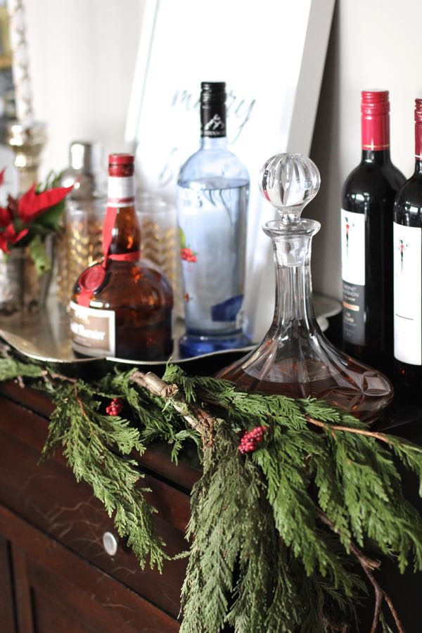 How To Decorate A Bar Cart For The Holidays
