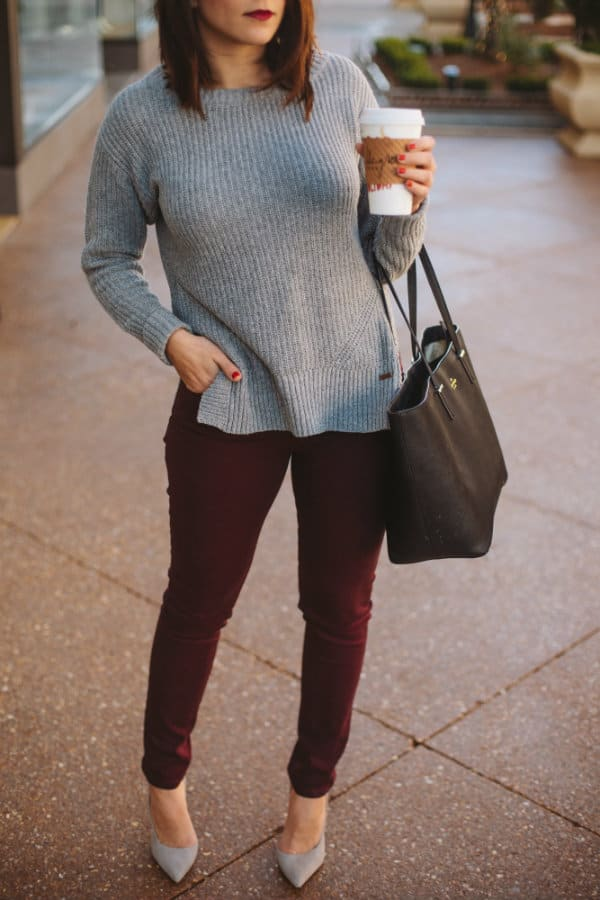 Innovative Grey Pants White Top Black Shoes And Earthy Sweater