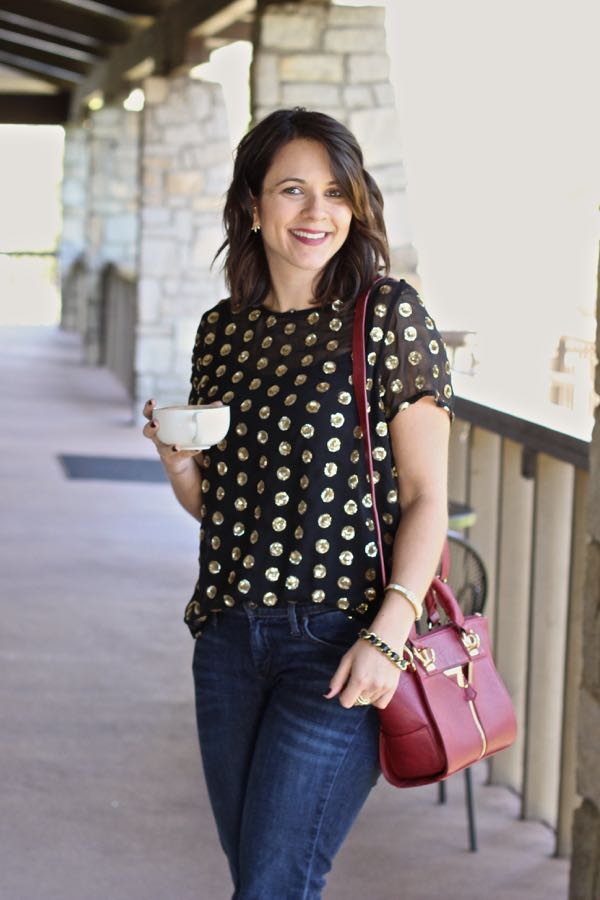 gold sequin polka dot shirt @mystylevita