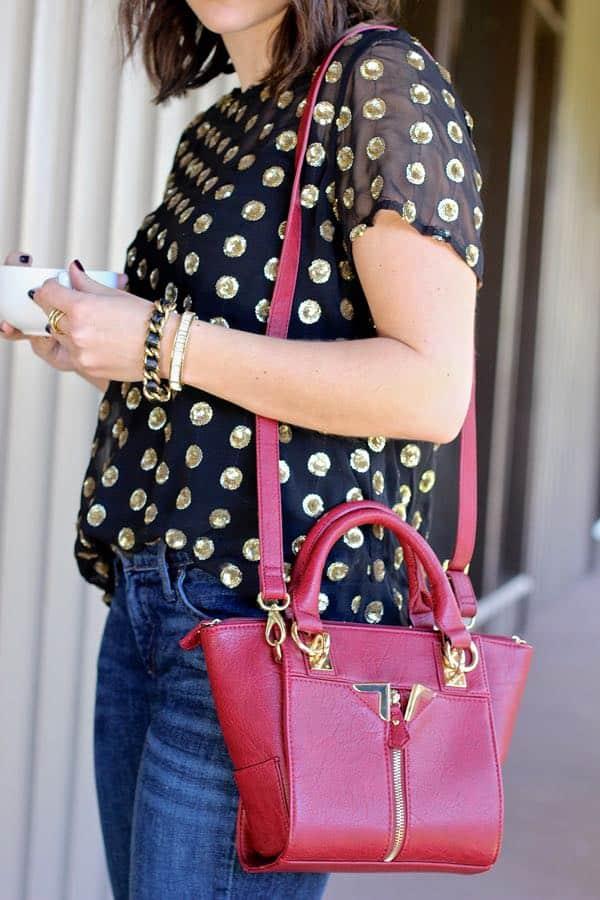 red danielle nicole handbag and gold sequined top via @mystylevita