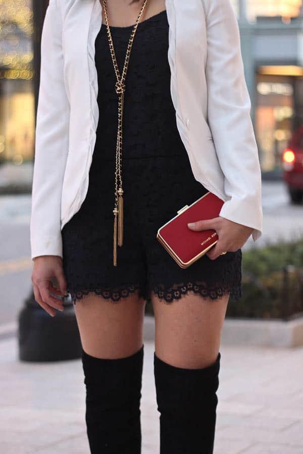 Club Monaco Lace Romper, OTK boots and red clutch via @mystylevita