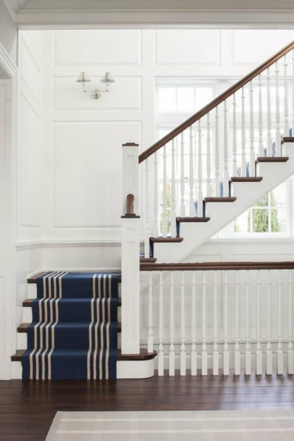 Charmant Blue Stair Runner, White And Navy Stairs