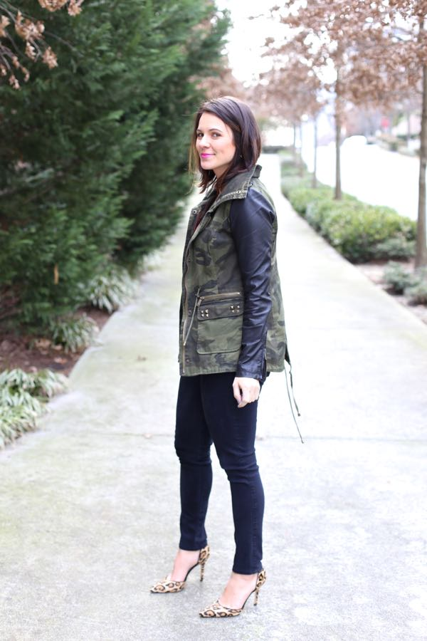 camo and leather jacket