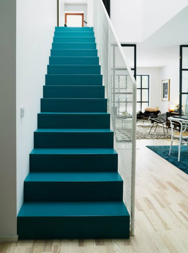 Teal Blue Stair Runner, Teal And White Stairs, Staircase Ideas