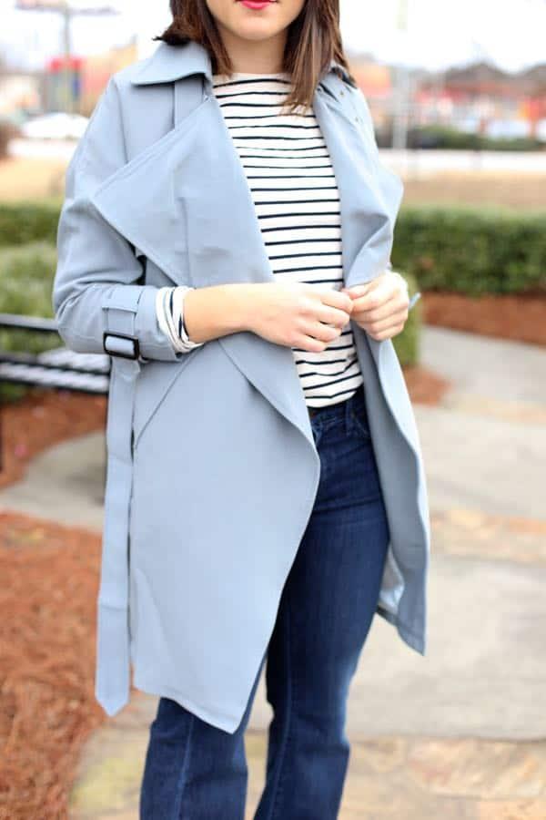 Baby blue trench and stripes via @mystylevita
