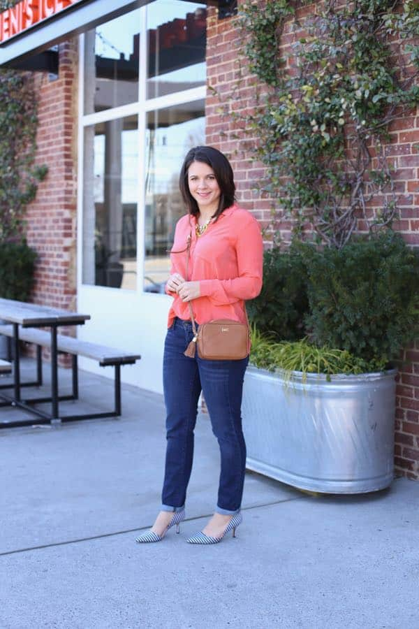 Spring Outfit Coral and stripes via @mystylevita 5