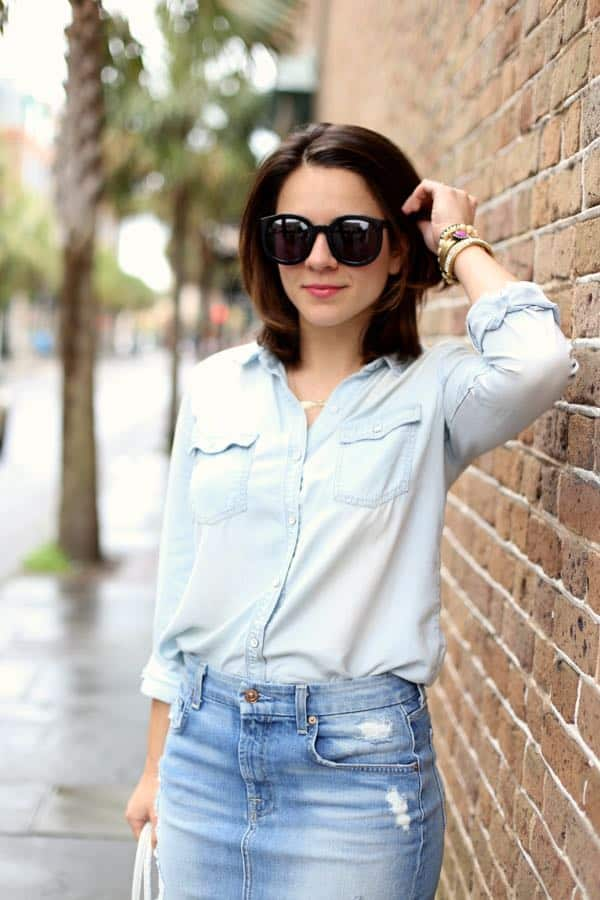 how to wear a canadian tuxedo, Denim Pencil Skirt via @mystylevita
