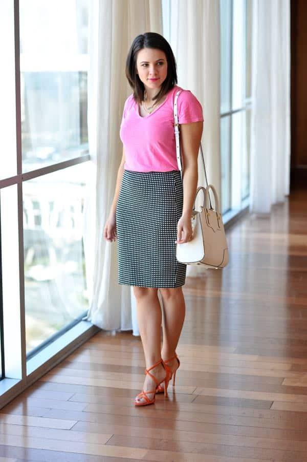 Express pencil skirt with a hot pink tee via @mystylevita