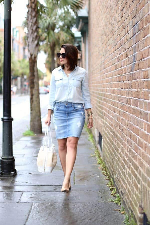 how to wear a canadian tuxedo, denim pencil skirt and denim shirt via @mystylevita