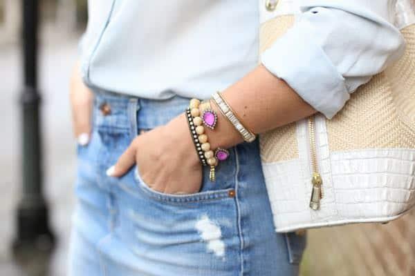 denim pencil skirt and loren hope bangle via @mystylevita