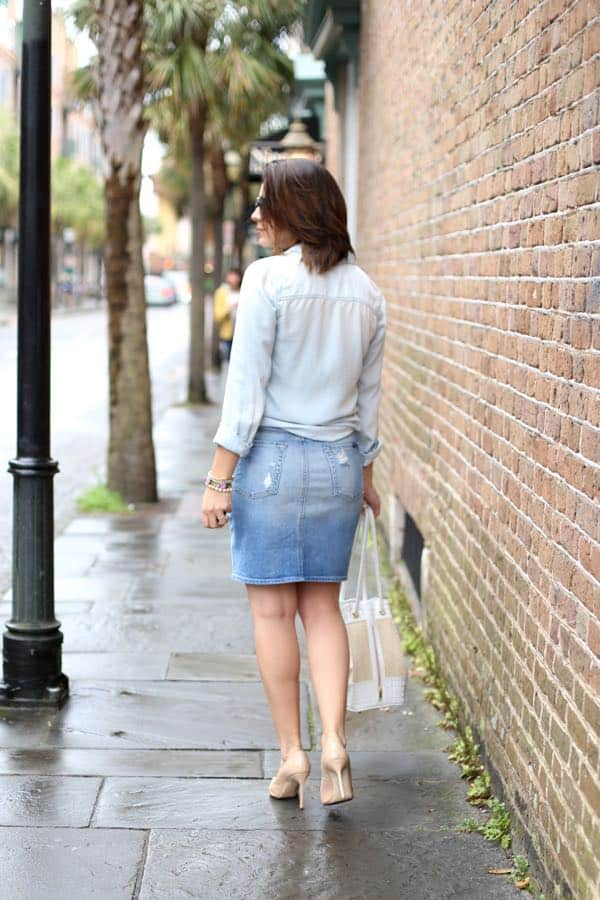 how to wear a canadian tuxedo, denim skirt canadian tuxedo via @mystylevita