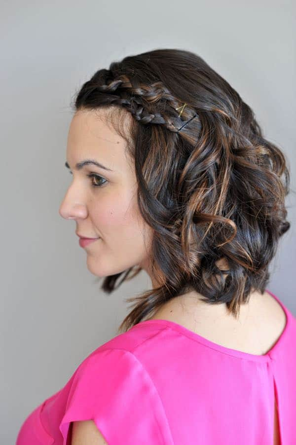easy braided hair style for short hair, short hair tutorial for braids, macrame braid - My Style Vita