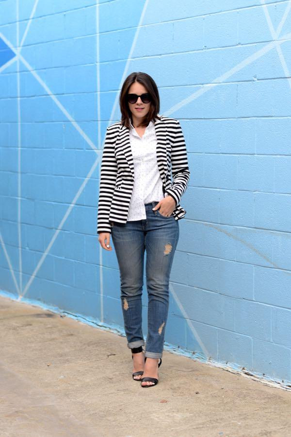 oxofrd with striped blazer via @mystylevita - how to dress up jeans