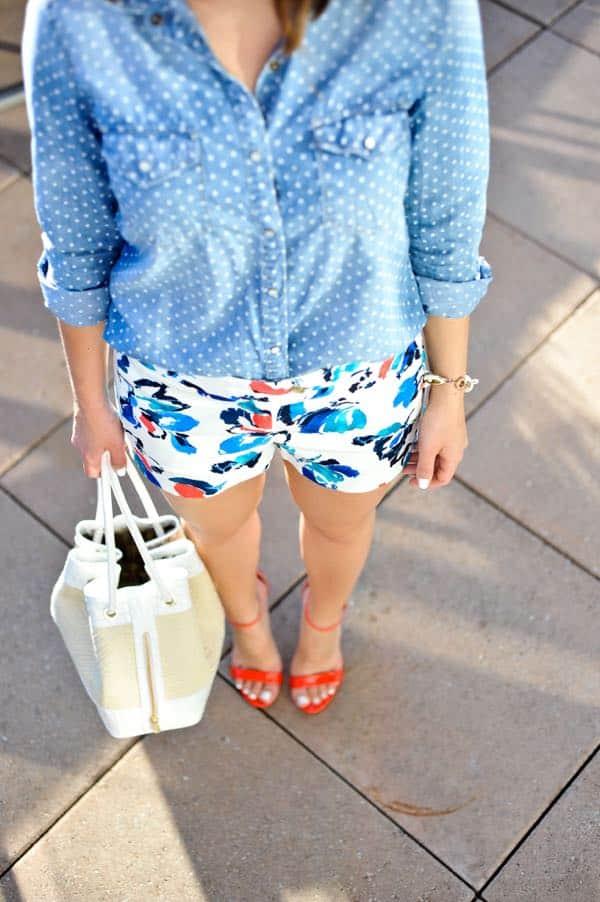 J. Crew Shorts and chambray shirt and heart sunglasses via @mystylevita