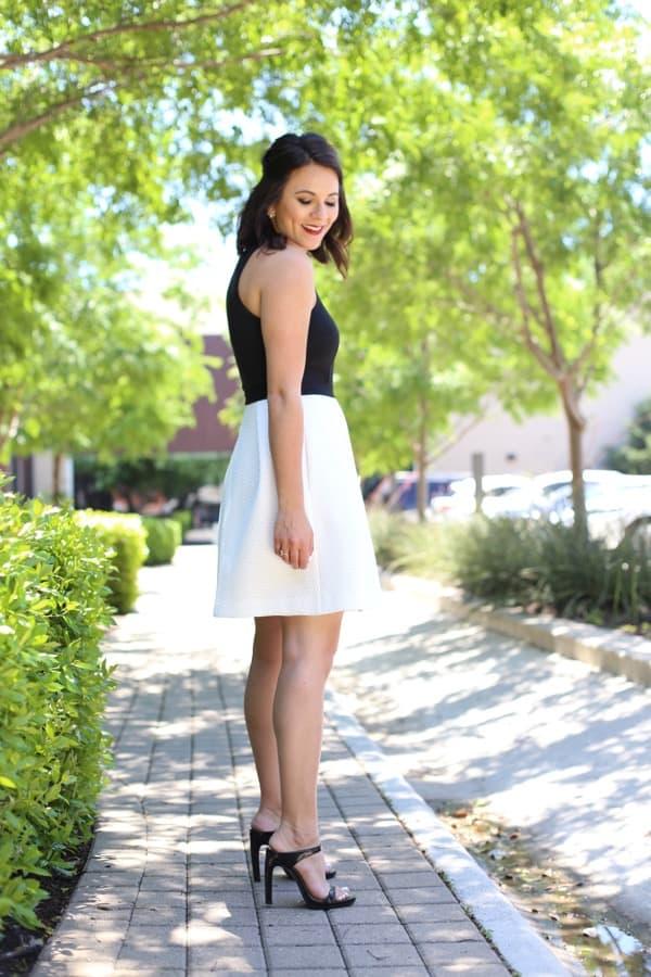 Trina Turk black and white dress, black clutch via @mystylevita