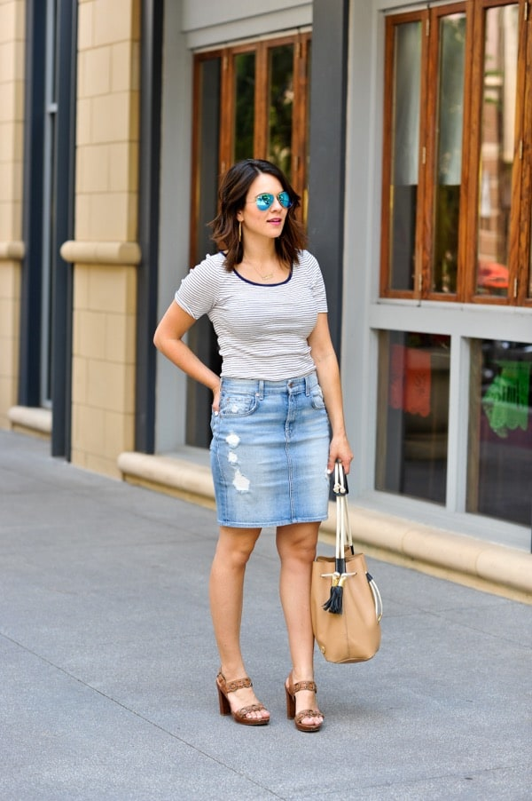 Denim Pencil Skirt and striped tee via @mystylevita - 1