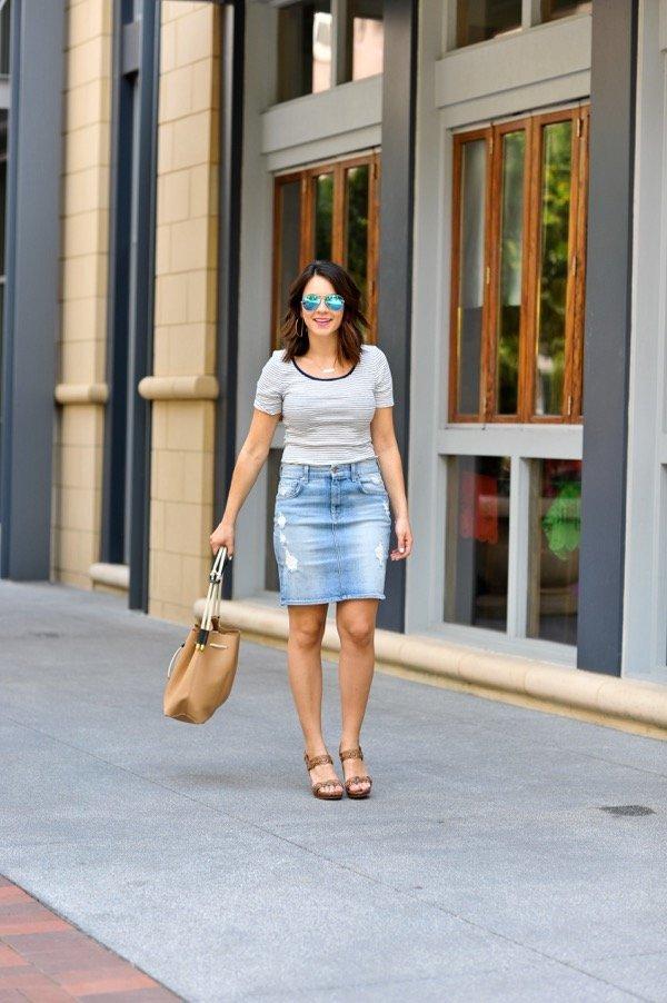 Denim Pencil Skirt and striped tee via @mystylevita - 2