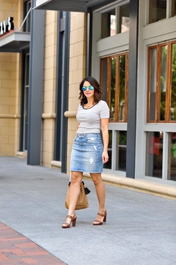 Denim Pencil Skirt and striped tee via @mystylevita - 3