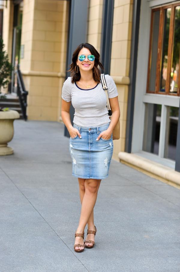Denim Pencil Skirt and striped tee via @mystylevita - 5