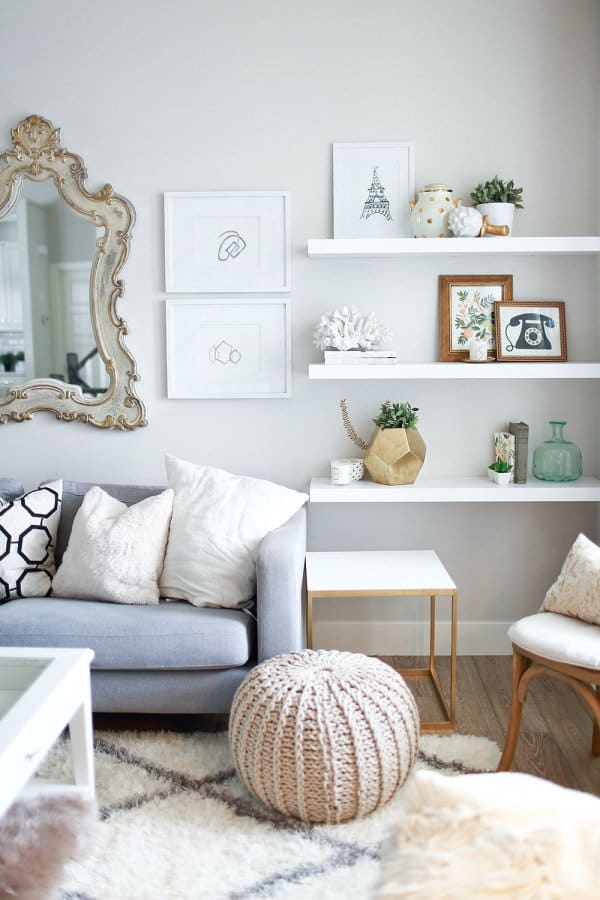 floating shelves idea white floating shelves living room - Floating Shelves In Living Room