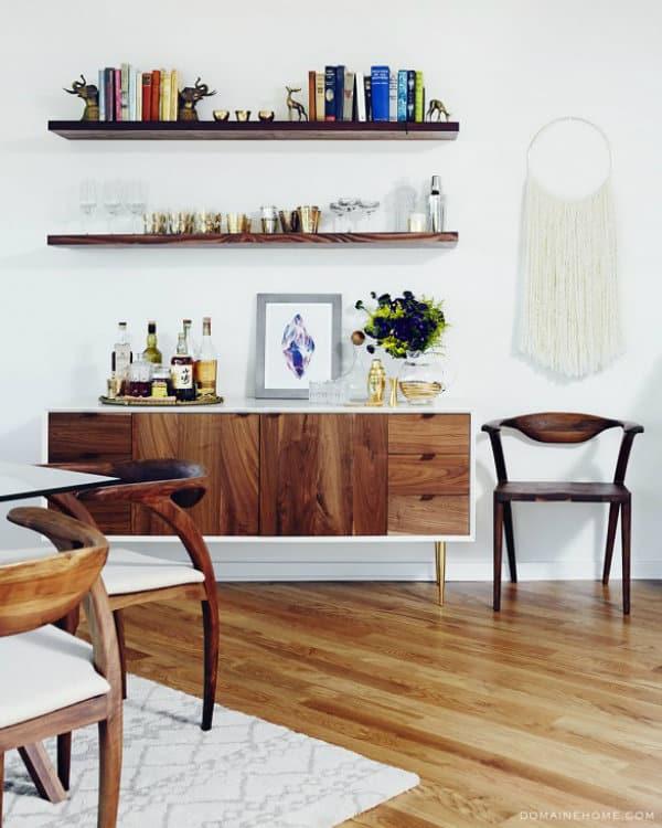 ... wooden floating shelves ...