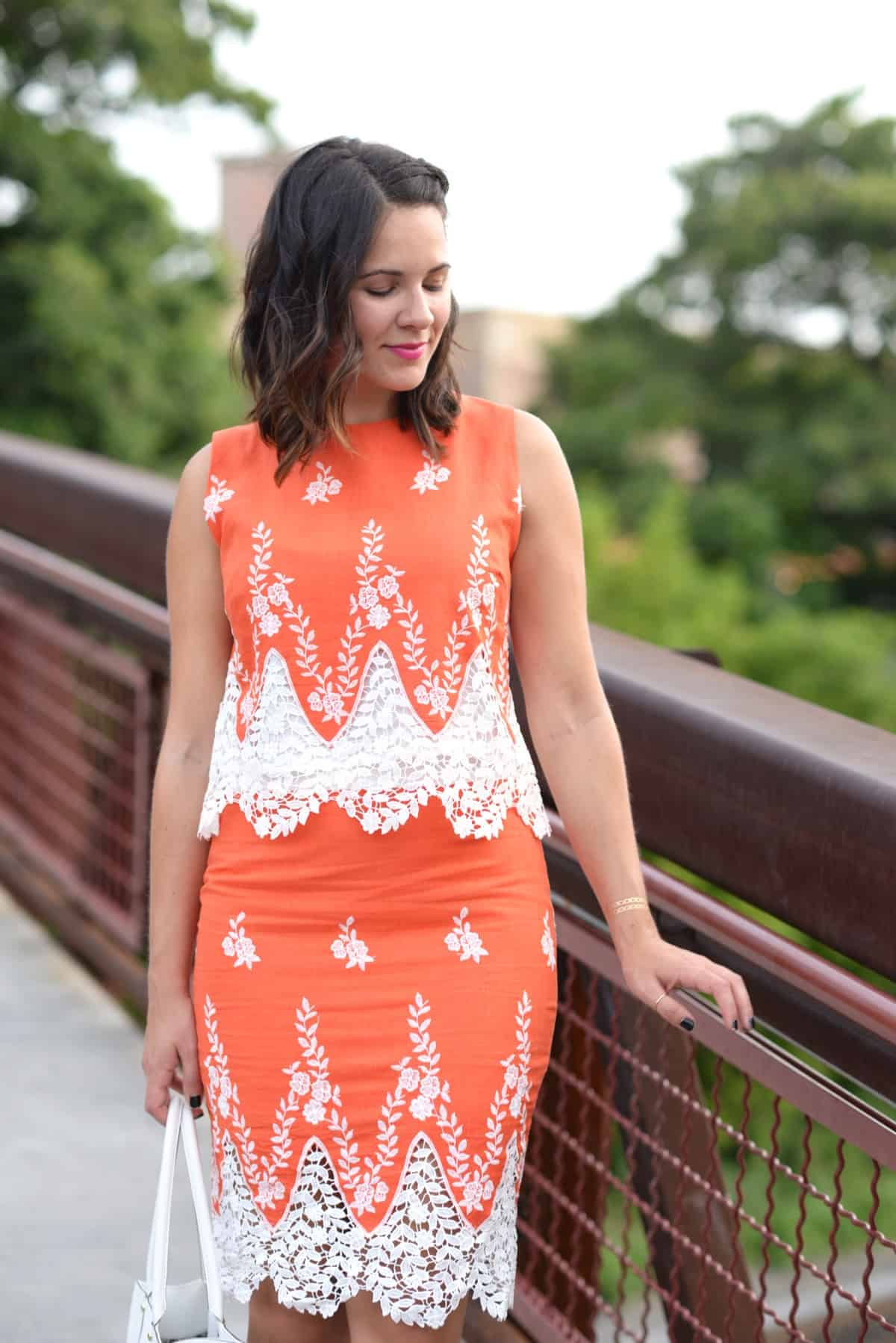 LMae Boutique orange lace crop top and pencil skirt set via @mystylevita - 1 (10)