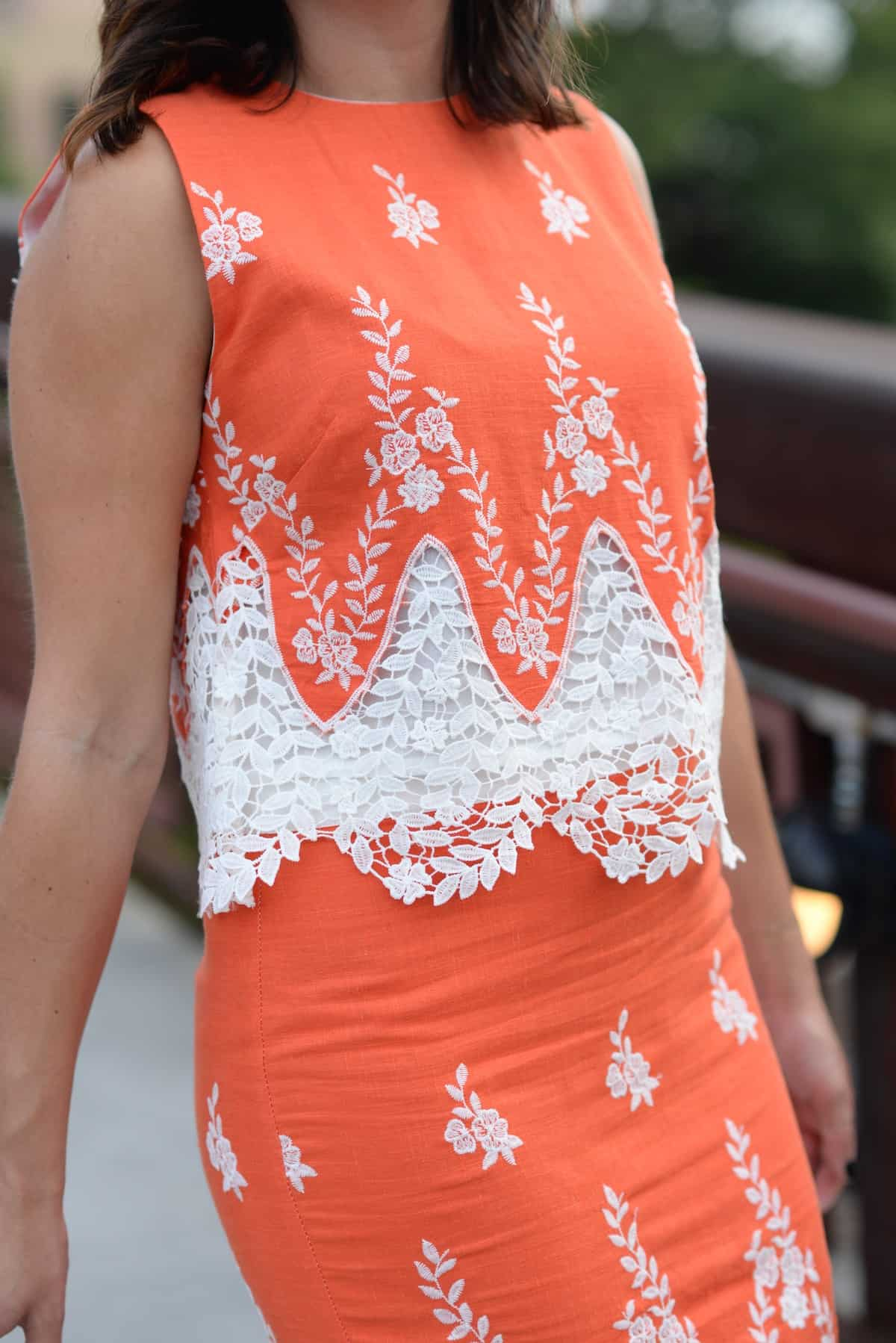LMae Boutique orange lace crop top and pencil skirt set via @mystylevita - 1