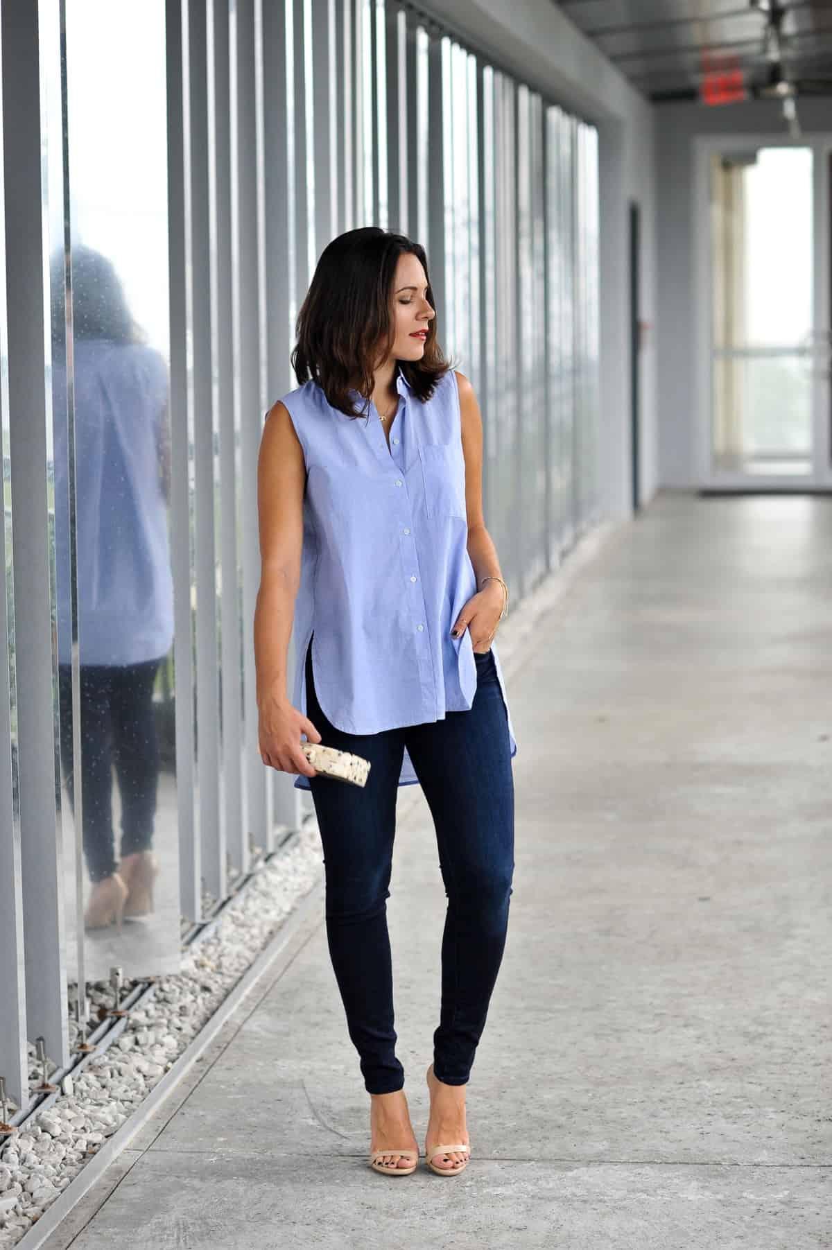 Madewell Sleeveless Composer Shirt and jeans via @mystylevita , my style vita , fashion blogger