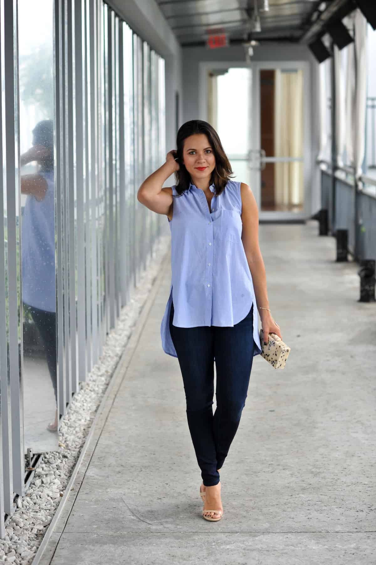 Madewell Sleeveless Composer Shirt and jeans via @mystylevita , my style vita , fashion blogger