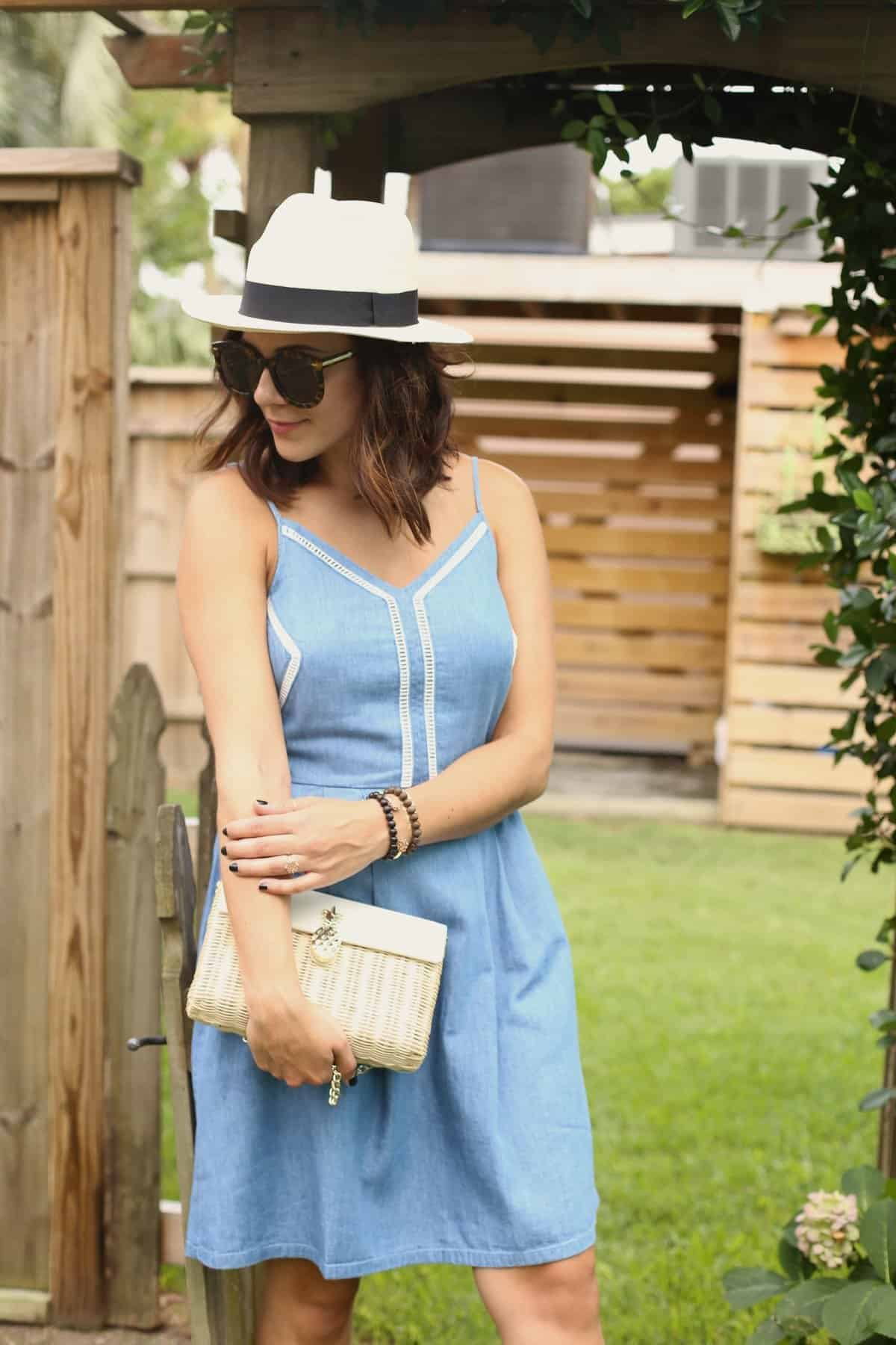 Chambray denim summer dress and panama hat via @mysytleivta Jessica Camerata, My Style Vita, Atlanta Fashion Blogger