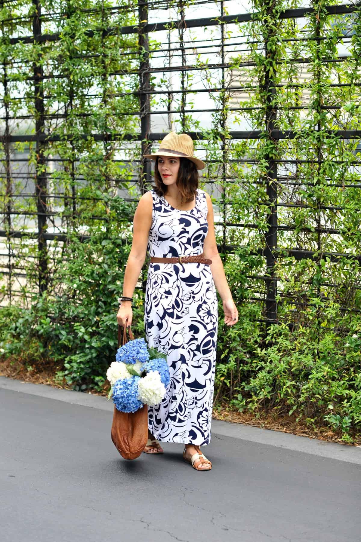 Talbots Printed Maxi Dress and hydrangeas via @mystylevita