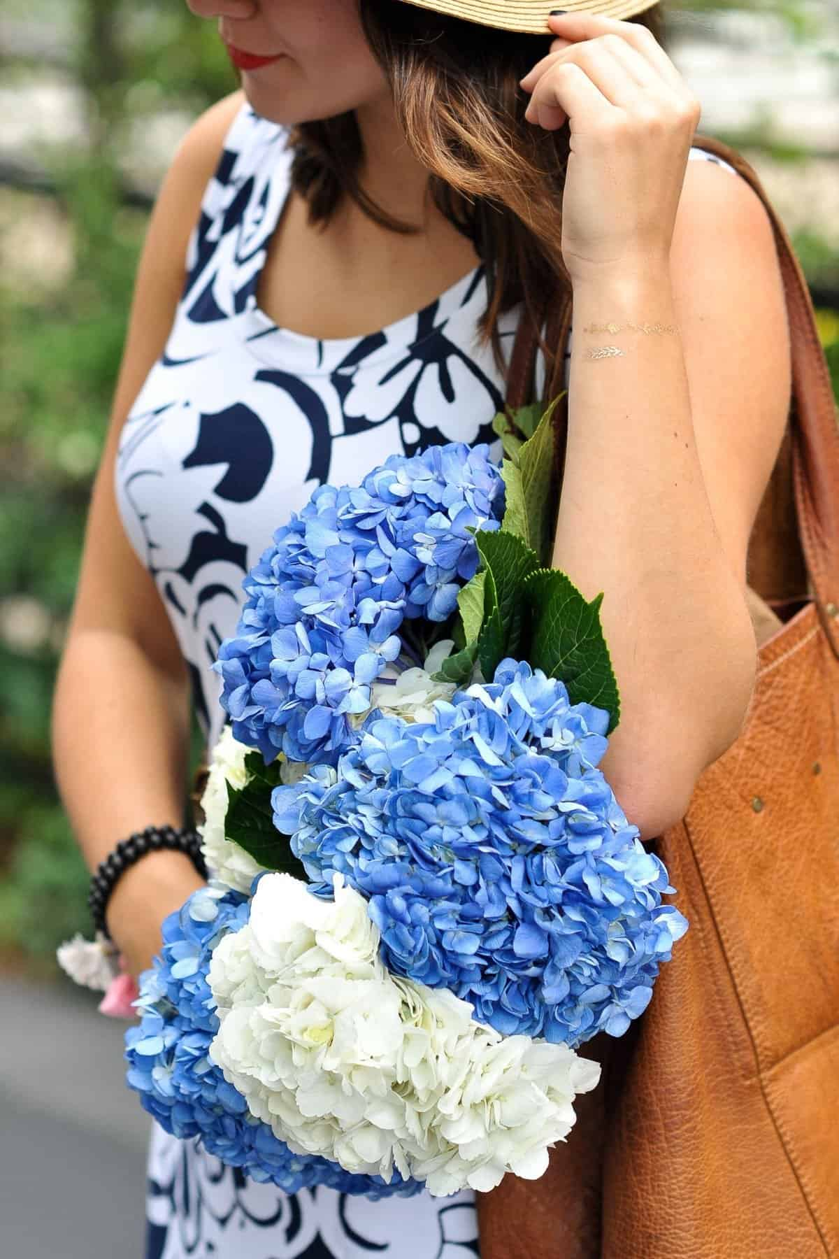 Talbots Printed Maxi Dress and hydrangeas via @mystylevita flowers, fashion blogger, my style vita,
