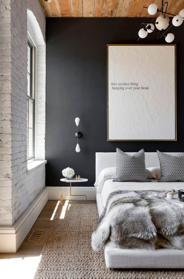 Dark Bedroom Colors Come Alive With White And Grey Accents